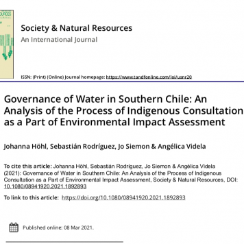 """Pantallazo del artículo """"Governance of Water in Southern Chile"""""""