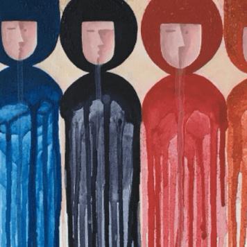 Künstlerische Darstellung menschlicher Figuren in verschiedenen Farmen und Mustern. Eine Figur ist mit einem X markiert und eine andere mit einem Y.