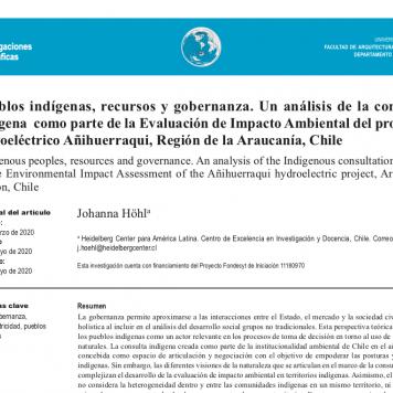 Artículo Pueblos indígenas, recursos y gobernanza
